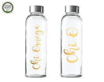 Chi Omega Glass water bottle- Sorority Glass Bottles