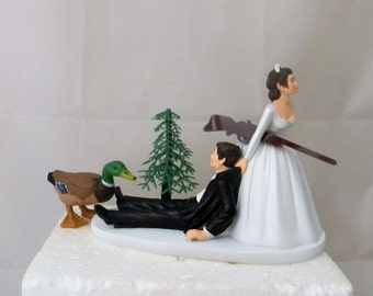 Wedding Reception Party Dark Hair Couple Duck Fowl Hunting Camo Hunter Cake Topper