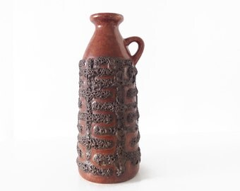 Mid Century Modern brown Strehla vase 1309 | East German Pottery, GDR, fat lava