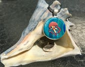 Ocean key chain / ocean zipper pull / ocean key ring / jellyfish key chain