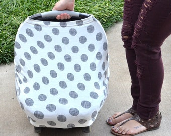 4 in 1 Carseat Canopy | Nursing Cover | Shopping Cart Cover- Black/White Polka Dot Print for Girls or Boys | Breastfeeding Cover| Baby Gift