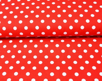 100% cotton red with white dots 7mm