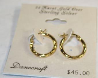 E-4 Vintage Earrings 24 k gold over silver
