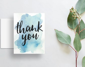 watercolor splash thank you cards // folded thank you notes // bright blue watercolor // brush lettering // PRINTED cards // custom