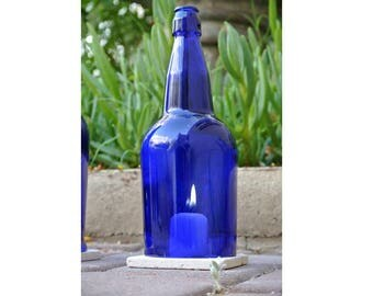 Cobalt Blue Wine Bottle Candle Holders WITH TILE / 1 Liter / Candle Cover / Centerpieces / Hurricane Lamp / Lantern Winebottle / Wine Gifts