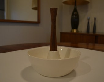 Mid Century Danish Modern Condiment Nut Candy Serving Bowl with Handle