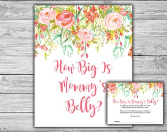 Floral - Pink - Baby Shower - How Big Is Mommy's Belly - Game - Cards - Sign - PRINTABLE - INSTANT DOWNLOAD - Pink Baby Shower - 060