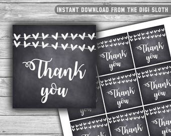 Chalkboard - Baby Shower - Thank You Tags - Baby Shower Tags - Printable - Instant Download - Chalk - Hearts - 041