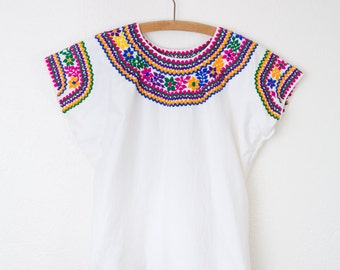 Vintage Hand embroidered Cotton Huipil Top/ Vintage Mexican / 1970s