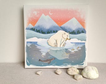 Canvas print illustration polar bear 20x20 cm