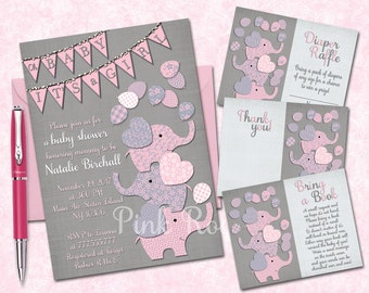Elephant baby shower printable invitation set grey pink baby girl digital invite with inserts thank you bring a book Diaper Raffle card