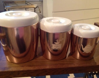 Set of 3 Rose gold colored coffee/tea canisters