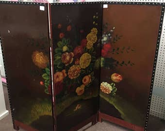 Vintage Room Divider, Short Room Divider Screen, Oriental , Floral, Three-Panel Room Divider