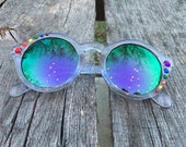 NEW! PRIDE Asymmetrical Embellished Round Sunglasses - Translucent Purple Frames, Purple-Green Reflective Lenses, with Rainbow Rhinestones