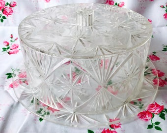 faux crystal cake keeper tray