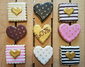 Valentine Stripes and Hearts - 9 cookies