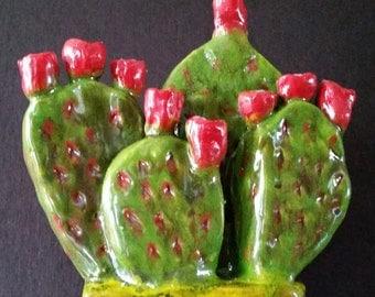 Cactus Sculpture Menorah Handmade Pottery