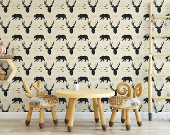 Woodland Wallpaper, Removable wallpaper, Woodland animals, nursery wallpaper, Black Bucks and Black Bears, Arrows on ivory, forest animals