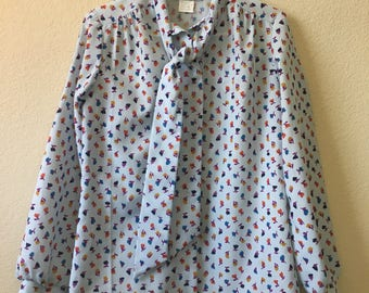 Lucky Winner light blue printed blouse polyester vintage neck bow tie