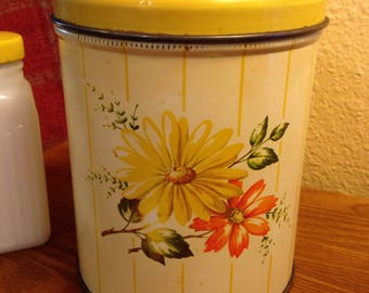 Vintage Decoware USA Yellow Floral Canister