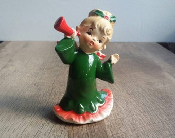 Vintage 1950s Lefton Christmas Angel Girl with a Horn