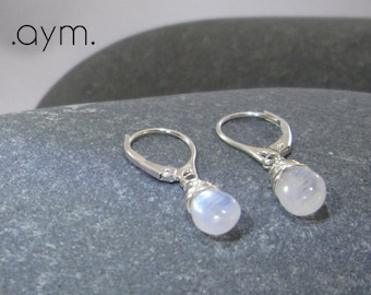 moonstone dangle leverback earrings, sterling silver wire wrapped rainbow moonstone drop earrings gift for her wife sister daughter mom gift