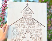 The Five Solas, Wall Art: Sola Scriptura, Sola Fide, Soli Deo Gloria, In Christ Alone, Woodburned on Basswood, Typography, Lettering, Church