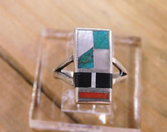 Sterling Silver Multi-Colored Inlay Ring Size 7.5