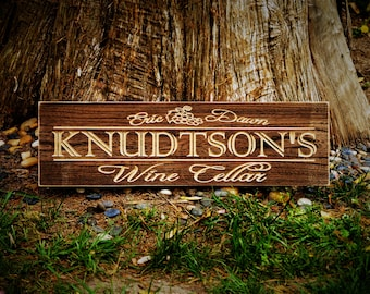 Wine Gifts for Dad Gift for Wine Lovers Wine Decor, Custom Wine Sign Personalized Wine Sign Personalized Wood Wine Cellar Name Sign