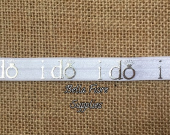 I Do Fold Over Elastic- White Silver FOE- Wedding Fold Over Elastic- Wholesale Elastic- DIY Headband- FOE- Elastic By The Yard-