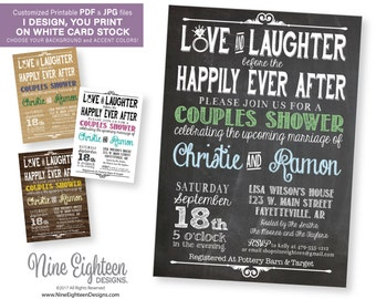 Couples Shower INVITATION, Love and Laughter before the Happily ever after. Customized Printable PDF Invitation.