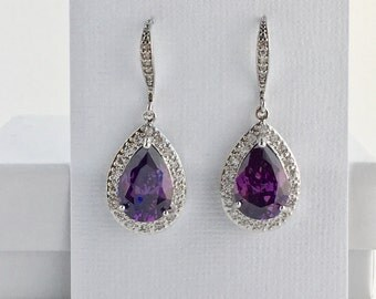 Amethyst Crystal Earrings Amethyst Cubic Zirconia Earrings Purple Drop Earrings Amethyst Bridal Earrings Purple Bridesmaid Jewelry Amethyst