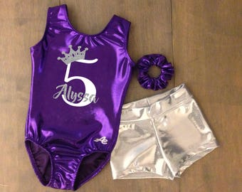 Crown Birthday gymnastics leotard and short with name and age applique in glitter