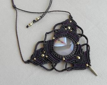 Macramé Necklace 'PARVATI'. Spiritual Jewelry. Heling Crystal Necklace. Bohemian jewelry. Boho chic. Tribal hippie style. Goddess necklace.