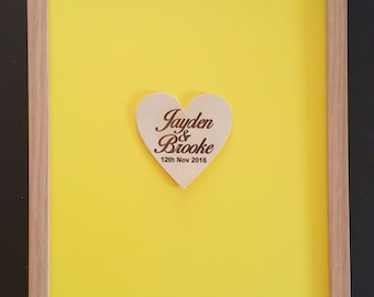 Wooden-colour Wedding Drop Box Guest Book Frame 100 hearts Birthday, Engagement