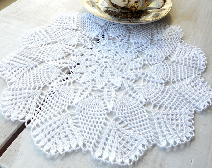 11 inch Crochet Doily, Handmade Round White Lace Doily, White Table Setting, White Tablecloch, Gift for Her, Vintage Interior, Housewarming