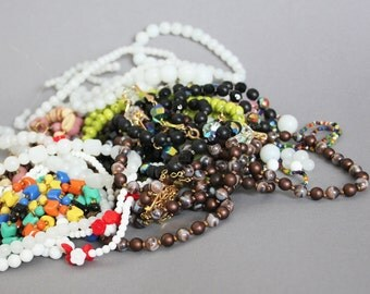 LOT OF Antique And Vintage Bohemian Glass Czech Gablonz Costume Jewelry. Beads, Reuse, Supplies