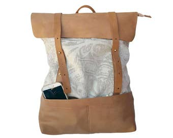 20% OFF Original Ivory White Women Backpack, Leather backpack, Girls rucksack