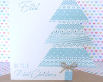 Beautiful Personalised Handmade Baby Boy or Girl First Christmas Card