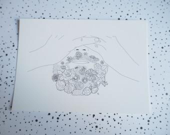 Card mailing XX bearded flowery