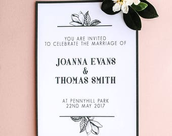 Green Magnolia Personalised Wedding Invitation