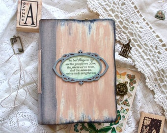 Personalized Travel journal, vintage handmade book, Memory journal
