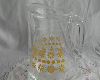 Retro 1970's Water Jug Pitcher Yellow Flowers Design