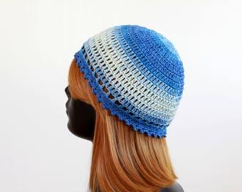 Denim crochet beanie, 100 % cotton, women, girls, teens, summer hat