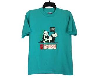 Vintage '88 Toledo Zoo Giant Panda Teal T-Shirt Small/Medium FREE SHIPPING!