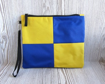 Wristlet Clutch Purse - Fabric clutch - Summer Blue Yellow Clutch Bag - Pouch - Water Resistant Waterproof - Casual Clutch - Small Purse