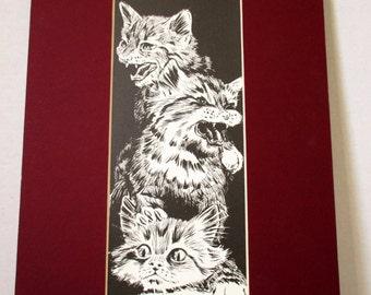 Three Little Kittens, Art Print Black & White , Christopher E Appel 1997,  Cat Lover Art, Cat Gift Idea