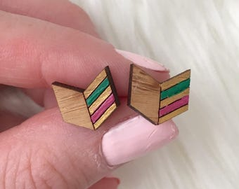 Hand painted Wooden arrow earrings, laser cut wooden geometric arrow, arrow studs, hypoallergenic earrings, gifts for her