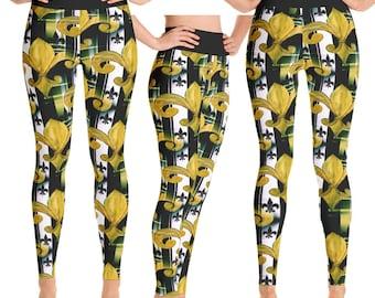 New Orleans Saints Black and gold fleur de lis leggings from my art