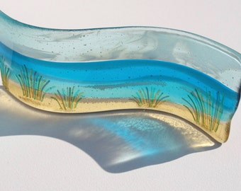 fused glass panel SAND DUNES freestanding curved panel